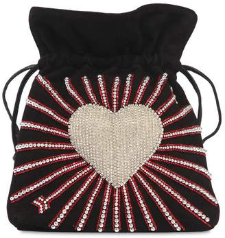 Les Petits Joueurs Trilly Heart Embellished Leather Bag