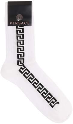 Versace Greek Motif Cotton Blend Socks