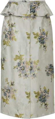 Brock Collection Sylvi Floral-Print Silk-Jacquard Peplum Skirt
