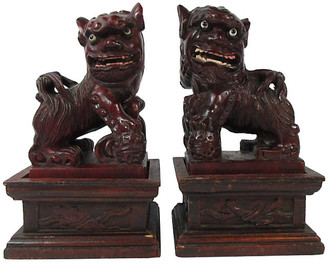 One Kings Lane Vintage Chinese Carved Foo Dogs & Stands - Set of 2 - Stucco Mansion Antiques