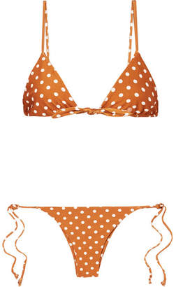 Faithfull The Brand Polka-dot Triangle Bikini - Copper