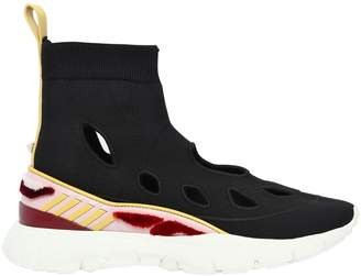 Valentino Heros Her Knit Sneakers W/ Leather