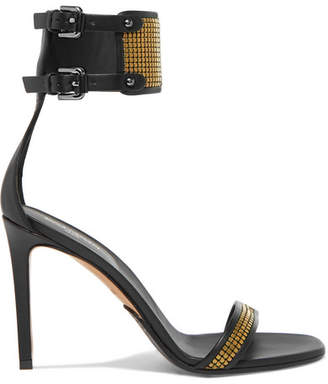 Balmain Embellished Leather Sandals - Bronze