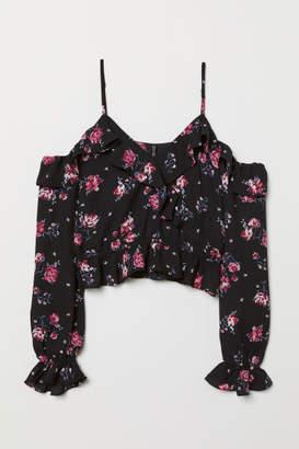H&M Open-shoulder Blouse - Black