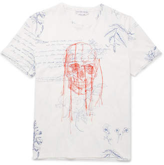 Alexander McQueen Explorer Embroidered Printed Cotton-Jersey T-Shirt - Men - White