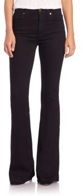7 For All Mankind Solid High-Rise Flared Jeans $189 thestylecure.com