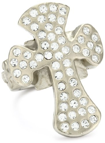Sisi Amber Clear Crystal Cross Nickel Ring