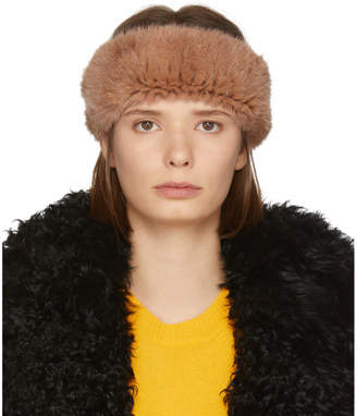 Yves Salomon Orange Knitted Mink Headband