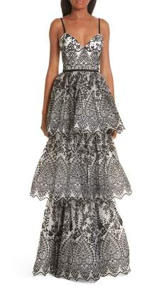 Marchesa Tiered Eyelet Evening Dress