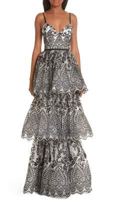 Marchesa Tiered Eyelet Evening Dress