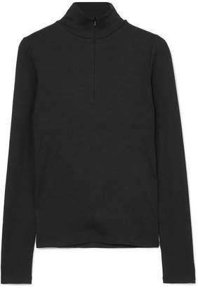 Vince Ribbed Stretch-modal Turtleneck Top - Black