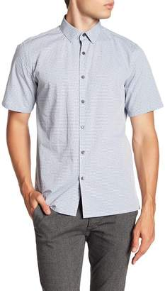 Theory Murray Trim Fit Check Short Sleeve Sport Shirt