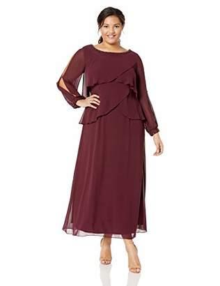 S.L. Fashions Women's Plus Size Long-Sleeve Chiffon Cocktail Dress