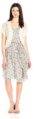 Robbie Bee Women's Jacket Dressl Printed Chiffon Corkscrew with Knit Shrug