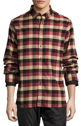 Public School Leto Plaid Flannel Shirt, Burgundy