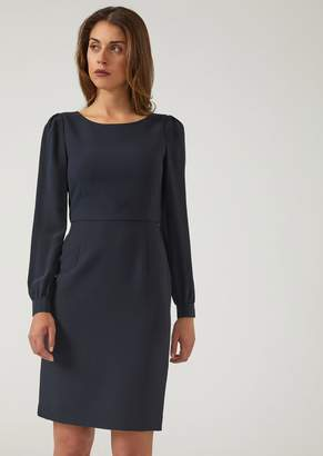 Emporio Armani Cady Dress With Long Sleeves And A Round Neck
