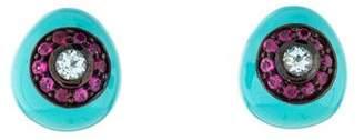 MCL by Matthew Campbell Laurenza Sapphire, Topaz & Enamel Stud Earrings