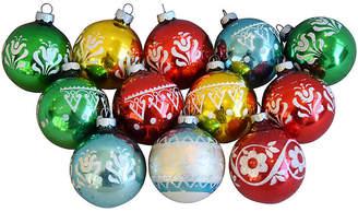 One Kings Lane Vintage Glitter Christmas Ornaments w/Box - Set of 12