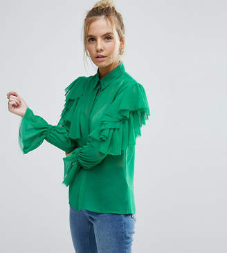 Asos Deconstructed Ruffle Cold Shoulder Blouse With Tie Detail