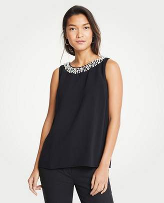 Ann Taylor Pearlized Neck Shell