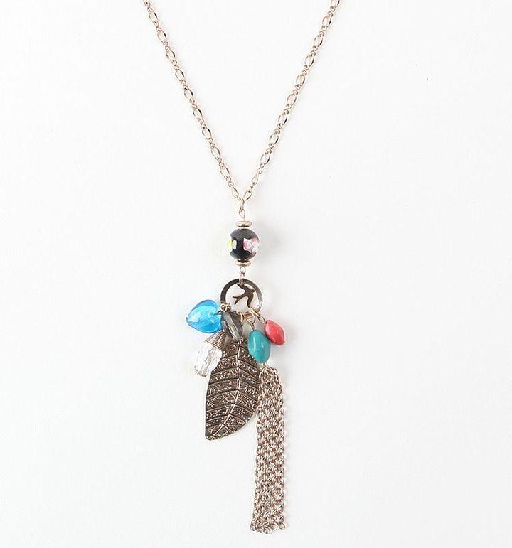 Kirra Leaf Bead Pearl Charm Necklace