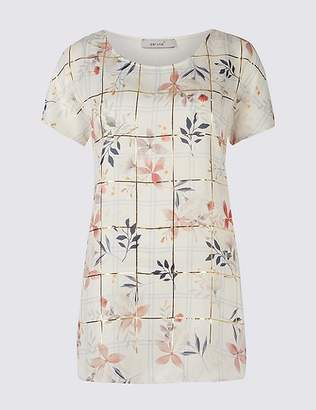 Marks and Spencer Floral Foil Print Woven Front Tunic