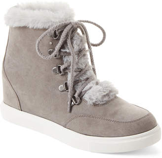 Madden-Girl Grey Pulley Wedge High-Top Sneakers