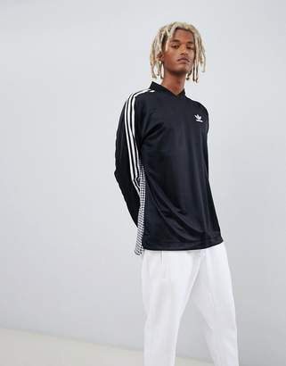 adidas B-Side Long Sleeve Jersey With Back Print In Black D76309