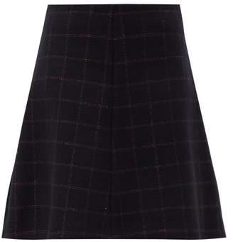 RED Valentino Metallic Check Wool Blend A Line Skirt - Womens - Navy Multi