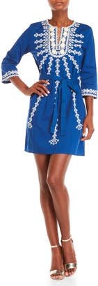 Figue Blue Sophie Embroidered Three-Quarter Sleeve Dress