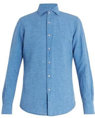 Glanshirt - Long Sleeved Slim Fit Cotton Shirt - Mens - Blue