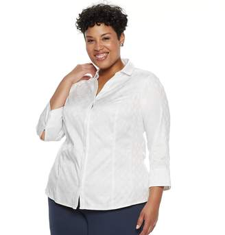 Dana Buchman Plus Size Hidden Placket Button-Down Shirt
