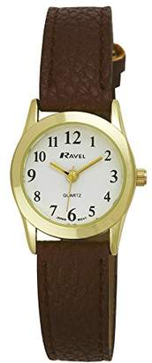 Ravel Fashion Women's Quartz Watch with White Dial Analogue Display and Brown Plastic Strap R0122.02.2