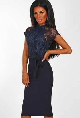 Pink Boutique Laced With Love Navy Lace Midi Dress