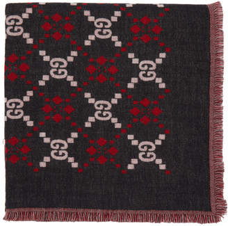 Gucci Black and Red GG Scarf