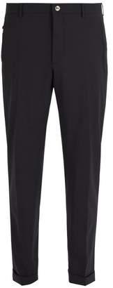 Prada Slim Leg Wool Blend Trousers - Mens - Navy