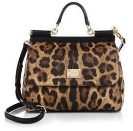 Dolce & Gabbana Medium Sicily Leopard-Print Satchel