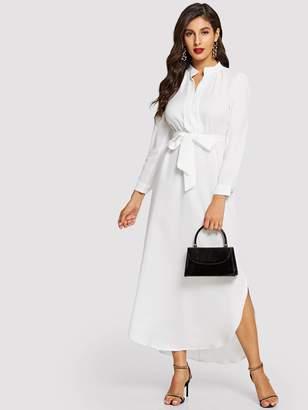 Shein Tie Waist Curved Hem Midi Shirt Dress