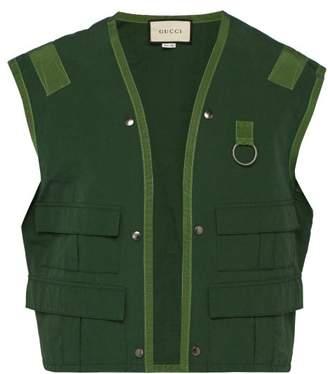 Gucci Sleeveless Cotton Blend Jacket - Mens - Green