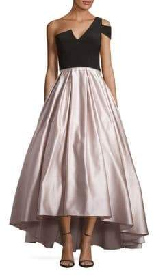 Betsy & Adam One-Shoulder Satin Ball Gown