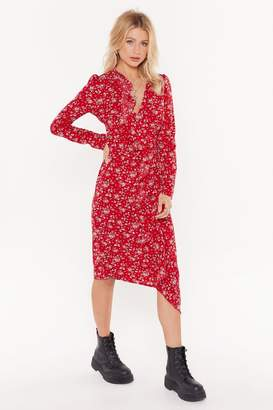 Nasty Gal Womens Plant A Kiss On Me Floral Ruffle Midi Dress - Red - 6