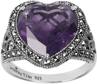 Swarovski Lavish By Tjm Lavish by TJM Sterling Silver Amethyst Heart Ring - Made with Marcasite