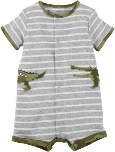 Baby Boys Gator Stripe Snap-Up Romper