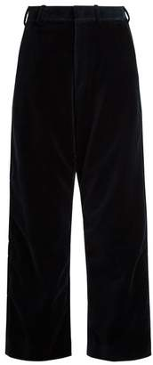 Vetements X Brioni Wide Leg Velvet Cropped Trousers - Womens - Navy
