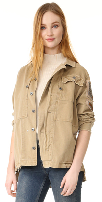 Free People Embellished Military Shirt Jacket $168 thestylecure.com