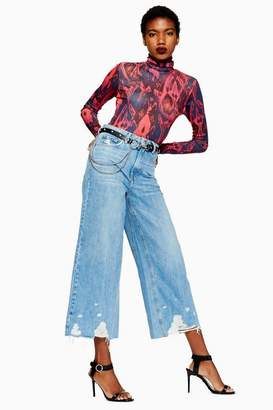 Topshop Womens Mid Blue Ripped Hem Crop Jeans