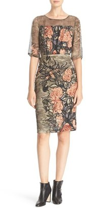 Tracy Reese Floral Print Stretch Silk Blouson Dress $348 thestylecure.com