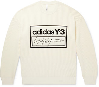Y-3 Y 3 Oversized Logo-Jacquard Ribbed Cotton-Blend Sweater