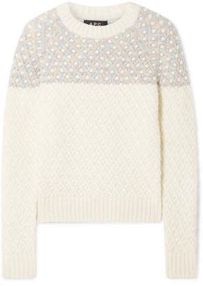 A.P.C. Metallic-trimmed Cable-knit Sweater - Cream