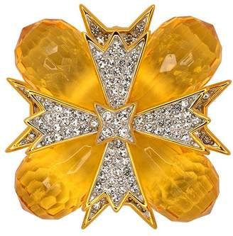 Kenneth Jay Lane Topaz And Crystal Cross Pin